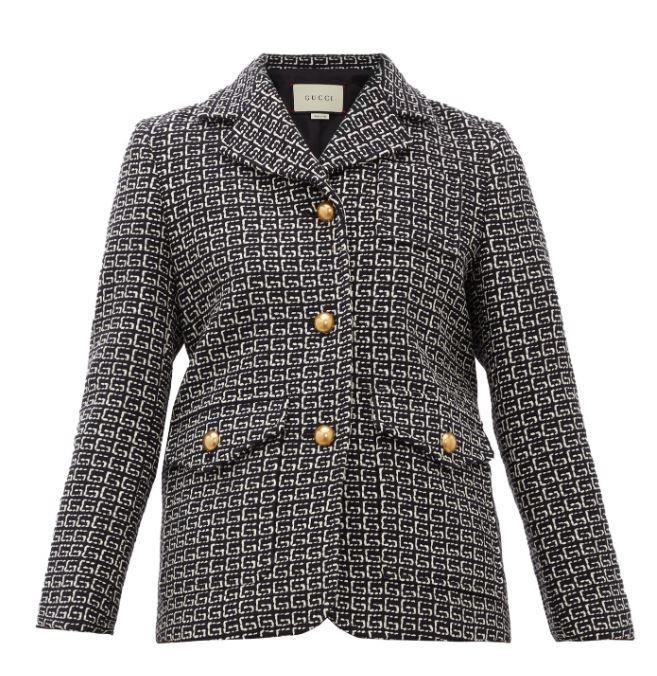 "G-Jacquard Single-Breasted Tweed Blazer, $3,465 by Gucci at [MatchesFashion](https://www.matchesfashion.com/au/products/Gucci-G-jacquard-single-breasted-tweed-blazer-1320401|target=""_blank""|rel=""nofollow"")."
