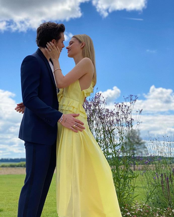 """***Nicola Peltz***<br><br> When you're marrying the son of one of the most famous fashion designers around, it would be a missed opportunity not to wear a dress from her line. Nicola Peltz, who announced her engagement to Brooklyn Beckham, wore the """"Asymmetric Ruffle Cami Dress"""" in lemon yellow for the shot. It currently [retails](https://international.victoriabeckham.com/products/asymmetric-ruffle-cami-dress-lemon