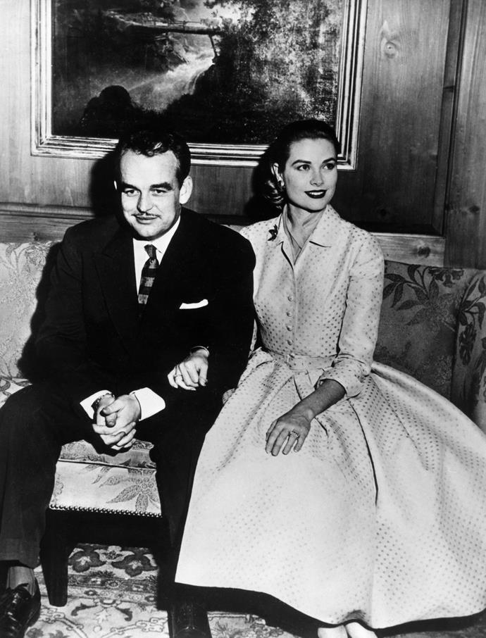 **Grace Kelly**<br><br> To announce her engagement to Prince Rainier of Monaco (as well as her transition from actress to princess), Kelly wore a beige fit-and-flare dress by New York label Branell, with a matching belt and three-quarter sleeves. A fitting accompaniment to her 10-carat Cartier ring.