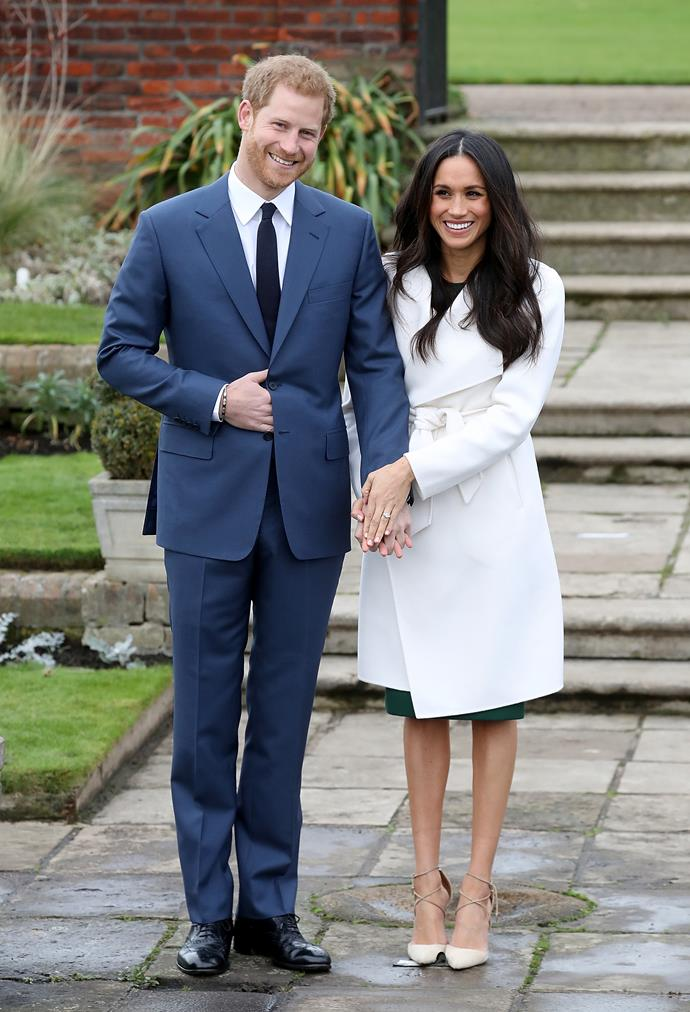 ***Meghan Markle***<br><br> For a formal announcement to photographers, Meghan wore a white coat by The Line over a green dress. Fit for a (future) duchess.
