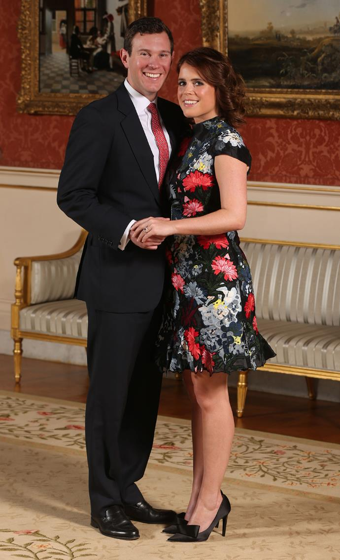 ***Princess Eugenie***<br><Br> For her engagement announcement to Jack Brooksbank, Princess Eugenie also embraced florals. Her choice, a more dramatic dark floral print by Erdem, was paired with bow-adorned heels.