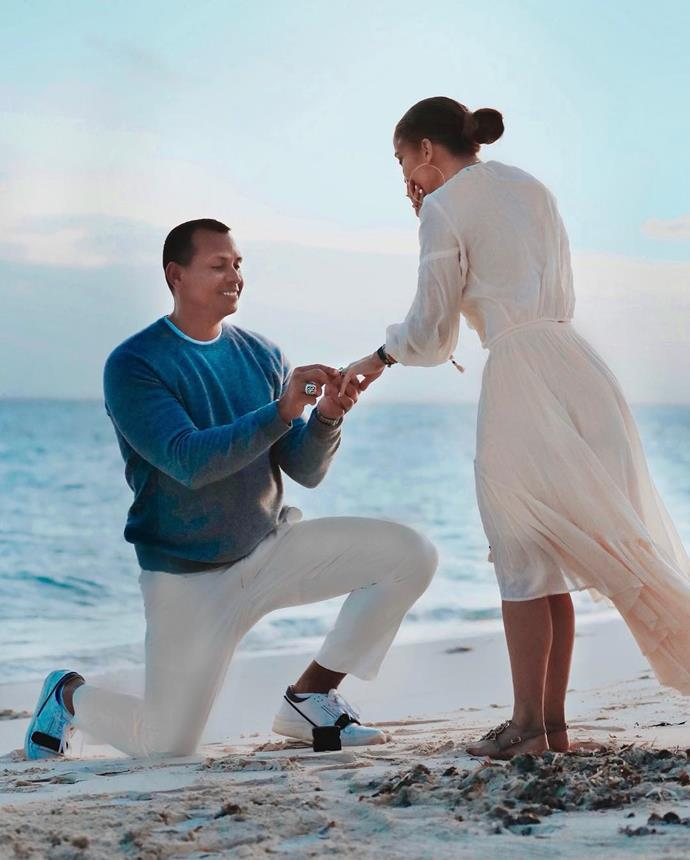 """***Jennifer Lopez***<br><br> When you're on the receiving end of a [$7 million engagement ring](https://www.harpersbazaar.com.au/bazaar-bride/jennifer-lopez-engagement-ring-cost-18261