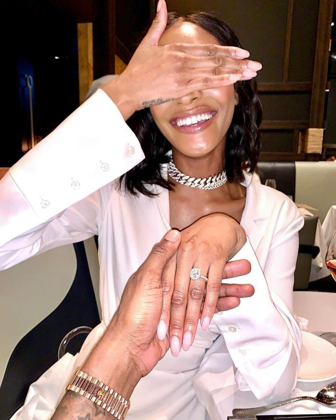 ***Jourdan Dunn***<br><br> Nothing says 'new bride' like a crisp white shirt dress, which is what supermodel Jourdan Dunn wore to announce her engagement to rapper Dion Hamilton.