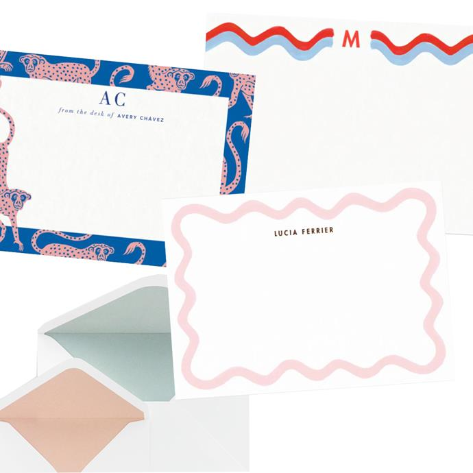 "Personalised note cards from Papier, clockwise from top: '[Monogram Rick Rack](https://www.papier.com/au/monogram-rick-rack-17702|target=""_blank""