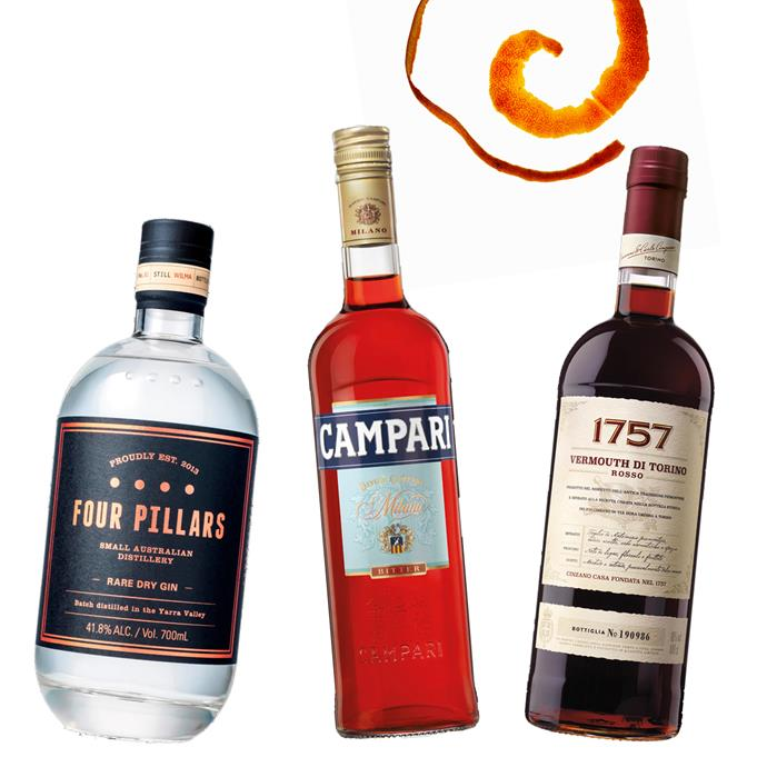 "Gin by Four Pillars, $69.90 at [Dan Murphy's](https://www.danmurphys.com.au/product/DM_781785/four-pillars-rare-dry-gin-700ml target=""_blank"" rel=""nofollow""); Bitter Aperitif by Campari, $39.99 at [Dan Murphy's](https://www.danmurphys.com.au/product/DM_95025/campari-bitter-aperitif-700ml target=""_blank"" rel=""nofollow""); Rosso Vermouth by Cinzano, $44.90 at [Dan Murphy's](https://www.danmurphys.com.au/product/DM_48356/cinzano-1757-rosso-vermouth-1l target=""_blank"" rel=""nofollow"")."