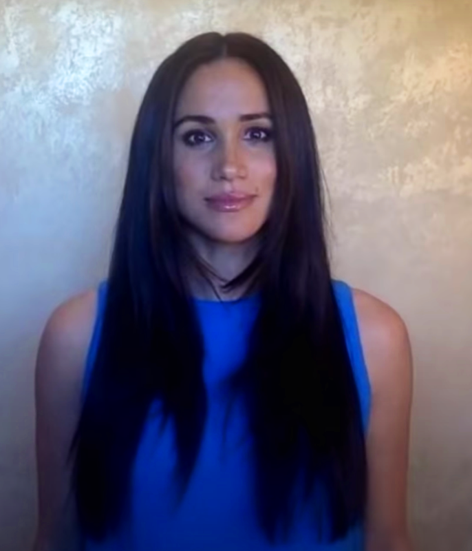 **Meghan Markle**<br></br> The Duchess of Sussex showed off substantially longer locks and a sleek, straight style via her latest virtual engagement.<br></br> *Image via: Youtube/@girlup*