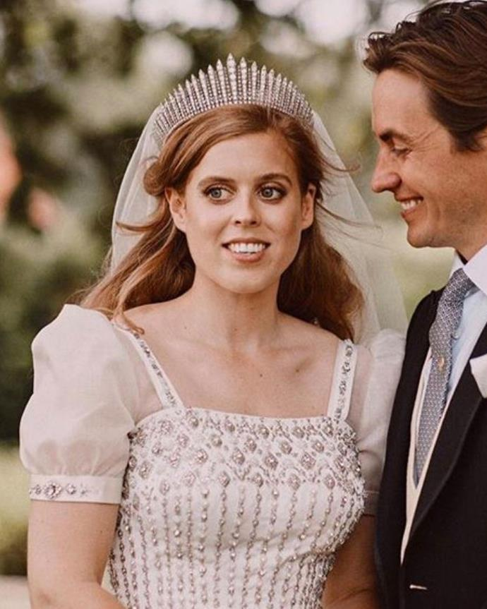 "**The tiara:** Queen Mary's Fringe Tiara.<br><br> **The wearer:** Princess Beatrice of York; Queen Elizabeth II; Princess Anne.<br><br> **The history:** For her private wedding to Edoardo Mapelli Mozzi, Princess Beatrice wore Queen Mary's Fringe Tiara with her [vintage dress](https://www.harpersbazaar.com.au/bazaar-bride/princess-beatrice-wedding-dress-tiara-20527|target=""_blank""). It was originally worn by the then-Princess Elizabeth, later Queen Elizabeth, at her own wedding in 1947. This tiara was also worn by her daughter, Princess Anne, on her wedding day in 1973."
