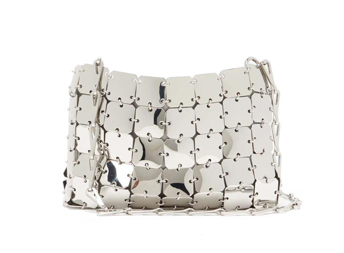 "1969 Nano Small Chain Shoulder Bag, $963 by Paco Rabanne at [MatchesFashion](https://www.matchesfashion.com/au/products/Paco-Rabanne-1969-Nano-small-chain-shoulder-bag-1324554|target=""_blank""