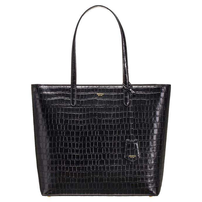 "Muse Texture Square Tote, $469 by [Oroton](https://oroton.com/muse-texture-square-tote-black-texture-osfa|target=""_blank""