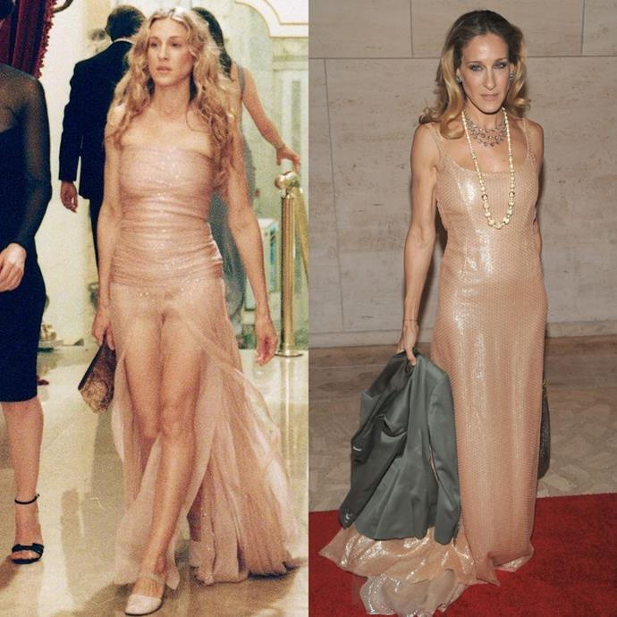 In a glimmering nude gown.