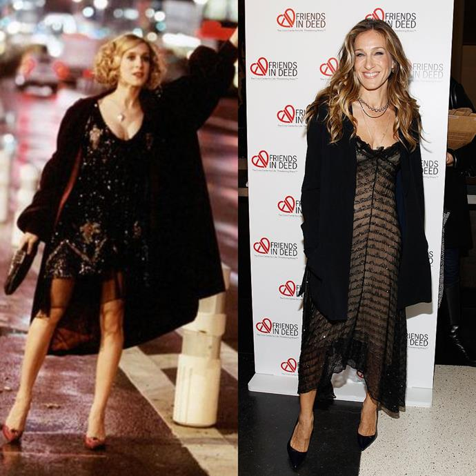 In sheer little black dresses, pointy pumps and black coats.