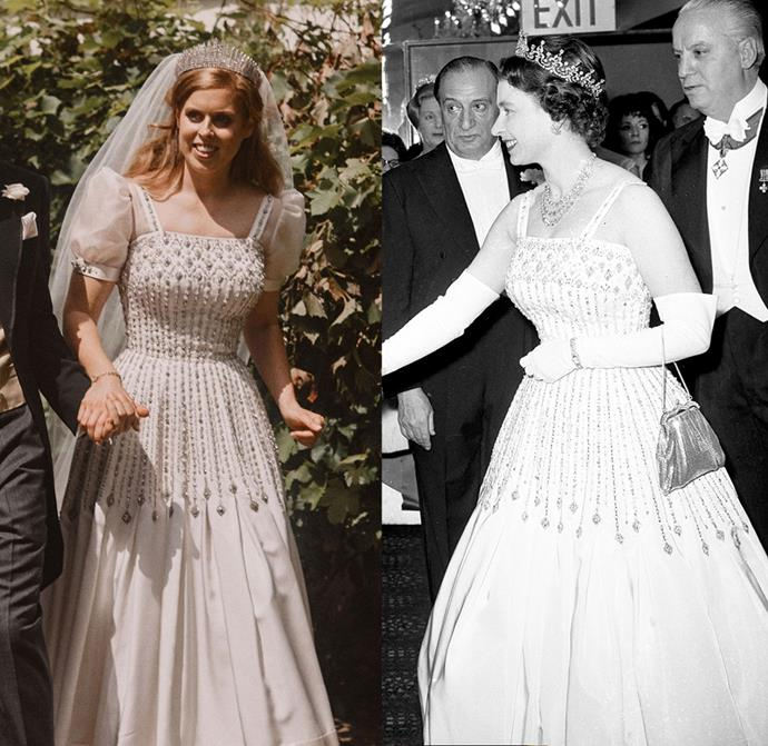 ***And the bride wore vintage***<br><br> In what may very well be a royal first, Princess Beatrice chose not to wear a custom gown and instead wore a dress that originally belonged to her grandmother, The Queen. The Norman Hartnell dress—made of peau de soie taffeta and organza, and trimmed with Duchess satin—was first worn by The Queen in 1962 to the premiere of *Lawrence of Arabia.*<Br><Br> Princess Beatrice reportedly worked with The Queen's personal dresser Angela Kelly to make adjustments for the day, which included adding delicate puff sleeves and refitting it.