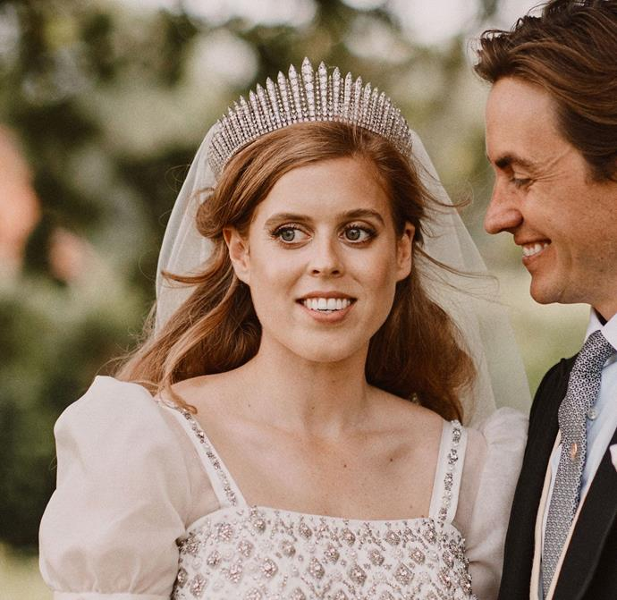 "***She also wore her grandmother's tiara***<bR><br> While she definitely had [plenty to choose from](https://www.harpersbazaar.com.au/culture/british-royal-tiaras-18106|target=""_blank""), Princess Beatrice's choice of [wedding tiara](https://www.harpersbazaar.com.au/culture/royal-bridal-tiaras-18928