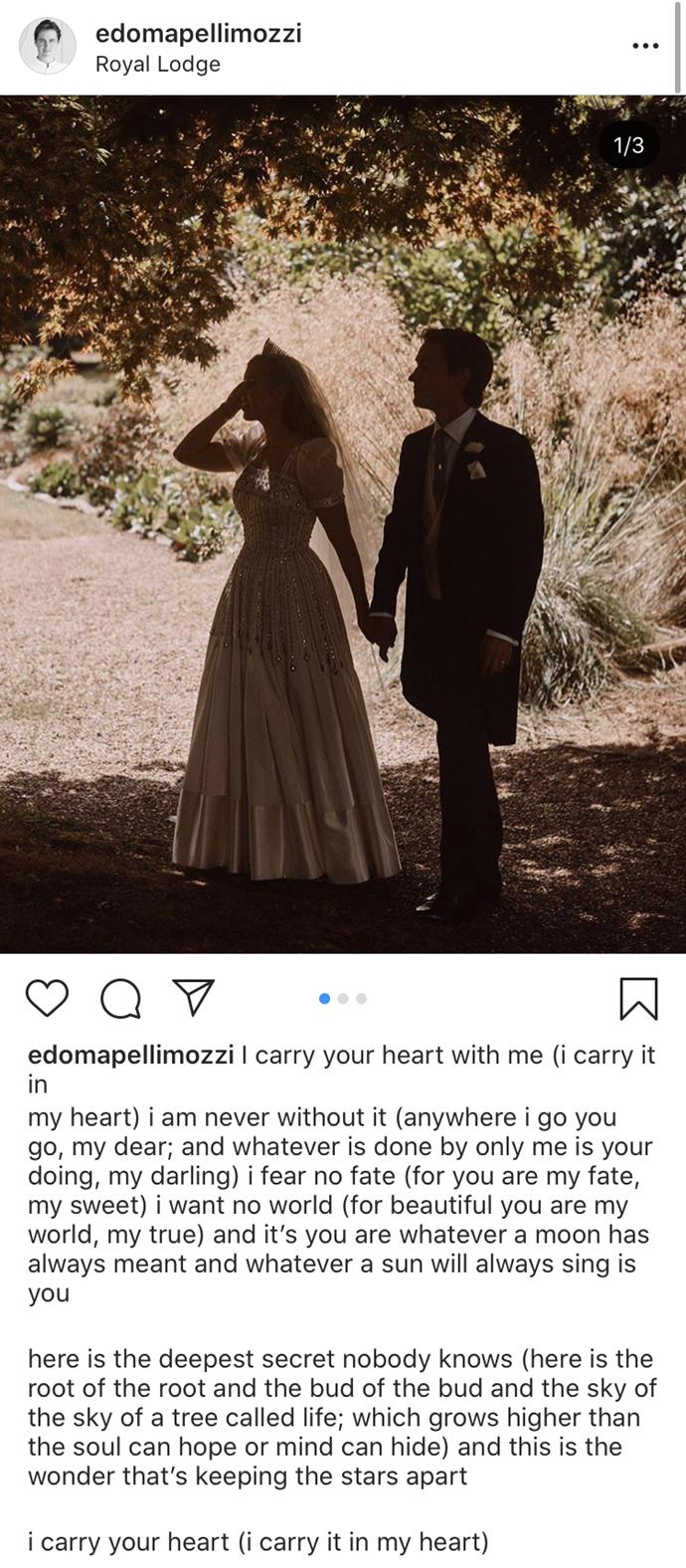 *Edoardo Mapelli Mozzi's Instagram caption.*