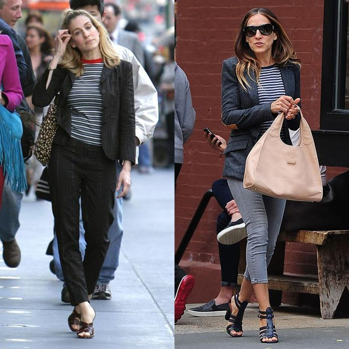 In a blazer, striped crew neck tee, pants and heeled sandals.