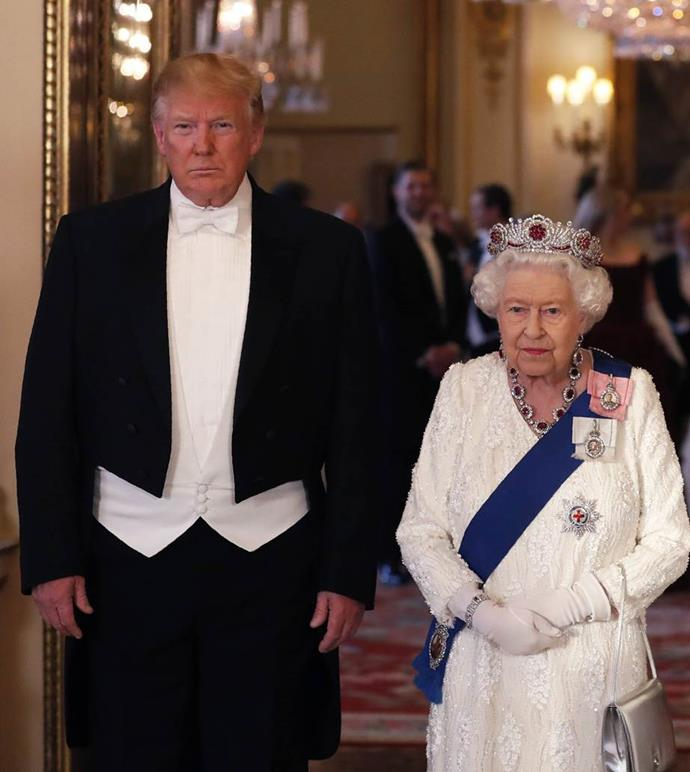 "**The Queen Wearing A Burmese Ruby Tiara To Meet President Donald Trump In 2019**<br><br>  While the royal family goes to great lengths to remain politically neutral, some royal watchers believed the tiara Queen Elizabeth wore to meet U.S. President Donald Trump during his state visit to the U.K. in June 2019 was anything but.<br><br>  According to [the crown's jeweller](https://www.instagram.com/p/BlkvT_4lCi2/|target=""_blank""