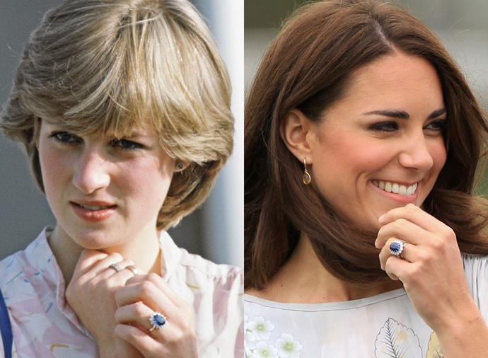 "**Princess Diana and Kate Middleton's Sapphire Engagement Ring**<br><br>  Princess Diana's famous sapphire engagement ring, which went on to become [Kate Middleton's engagement ring](https://www.harpersbazaar.com.au/celebrity/kate-middleton-engagement-ring-controversy-17202|target=""_blank""), is undoubtedly one of the most recognisable rings in history. Incidentally, the inspiration behind its origins actually lies with another royal family member, namely Queen Victoria, and is quite poignant.<br><br>  ""Queen Victoria absolutely loved sapphires, so Prince Albert always used to buy her sapphires. There's a very famous sapphire brooch which Queen Elizabeth wears regularly, passed down from Queen Victoria,"" House of Garrard told *Marie Claire* U.S.<br><br>  ""That was the inspiration for the sapphire engagement ring that the Duchess of Cambridge wears. Prince Charles had always seen this beautiful sapphire brooch of his mother's, which House of Garrard had created. When he went to House of Garrard he saw that ring, and thought it was perfect."""