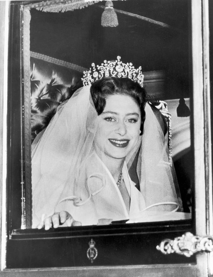 "**Princess Margaret Wearing The Poltimore Tiara To Her Wedding In 1960**<br><br>  Widely looked upon as the [royal family's biggest rebel](https://www.harpersbazaar.com.au/celebrity/princess-margaret-real-life-stories-15489|target=""_blank""), it seems fitting that Princess Margaret chose to break from tradition for her wedding to Lord Snowdon, and buy her own tiara.<br><br>  Instead of following the custom of borrowing from the family's vast collection of over 40 tiaras, legend has it that the princess bought the incredible piece herself, though there is some debate about the exact truth.<br><br>  ""It was purchased for her at auction in January 1959. It is not absolutely clear whether Margaret, her sister the Queen, or her mother actually paid for it,"" Mahnaz Ispahani Bartos, a vintage jewellery dealer and scholar with a particular expertise on Princess Margaret, [told](https://www.townandcountrymag.com/style/jewelry-and-watches/a29956538/princess-margaret-poltimore-tiara/
