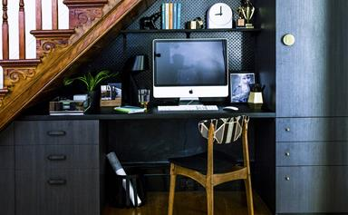 Room update: a study nook under the stairs