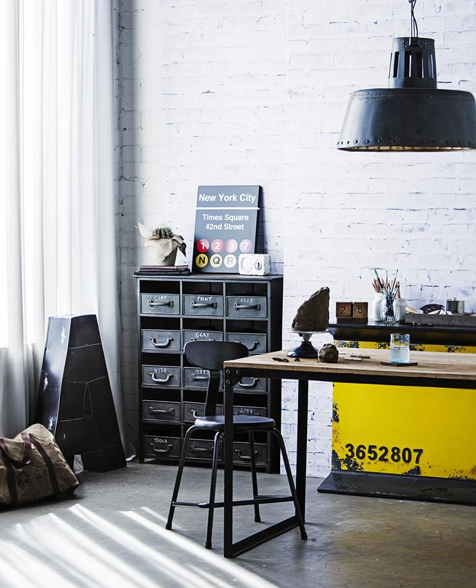 """Raw industry: An industrial style lends itself perfectly to creative office spaces – old-school storage systems are the best for organising, while rustic patinas mean making a mess is no problem.   Industrial Iron Locker **chest** and Industrial Tube Work **chair** in Sapele from [Vavoom Emporium](http://www.vavoom.com.au/