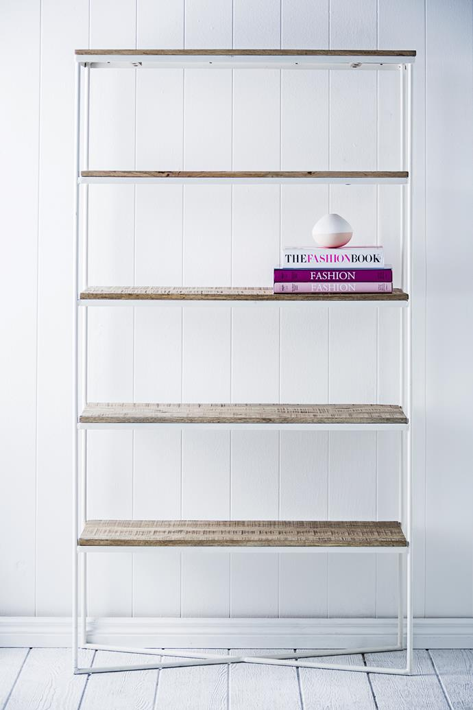 """Dual purpose: A bookshelf is a fabulous multipurpose piece – it's practical for storing office essentials and functions as a moveable 3D moodboard or display.   Globe West Flinders **bookcase** from [Project 82](http://www.project82.com.au/