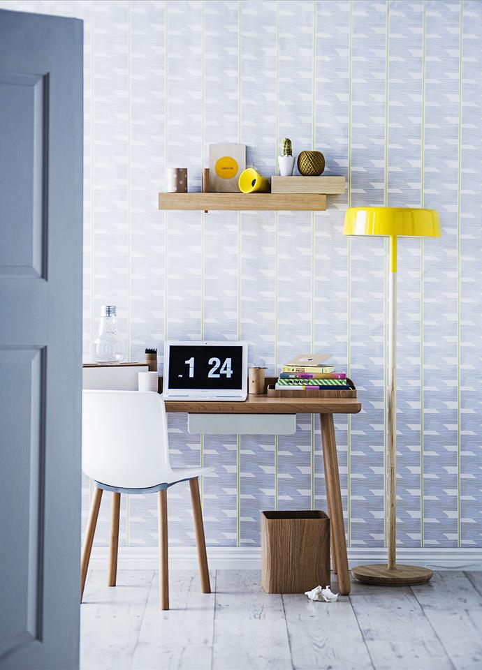 """Northern Light: A patterned wallpaper with a hint of colour is a great way to add visual interest to even the smallest of office spaces or study nooks.   Replica Jasper Morrison Hal **chair** from [Matt Blatt](http://www.mattblatt.com.au/