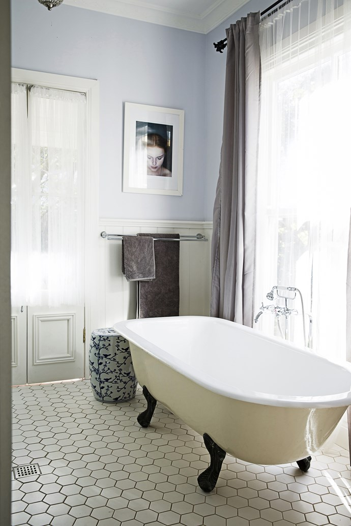 """""""The old cast iron bathtub, bought from a friend, has made my life much easier. The kids love it, as do I after a long day,"""" Jodie says."""