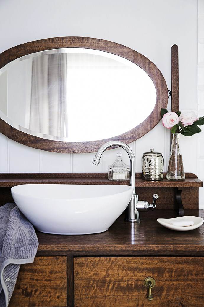 """Another Gumtree find, the vanity has been converted by inserting a bowl bought from [Bunnings](http://www.bunnings.com.au/ target=""""_blank""""). All the tapware is from [Reece](http://www.reece.com.au/ target=""""_blank"""")."""