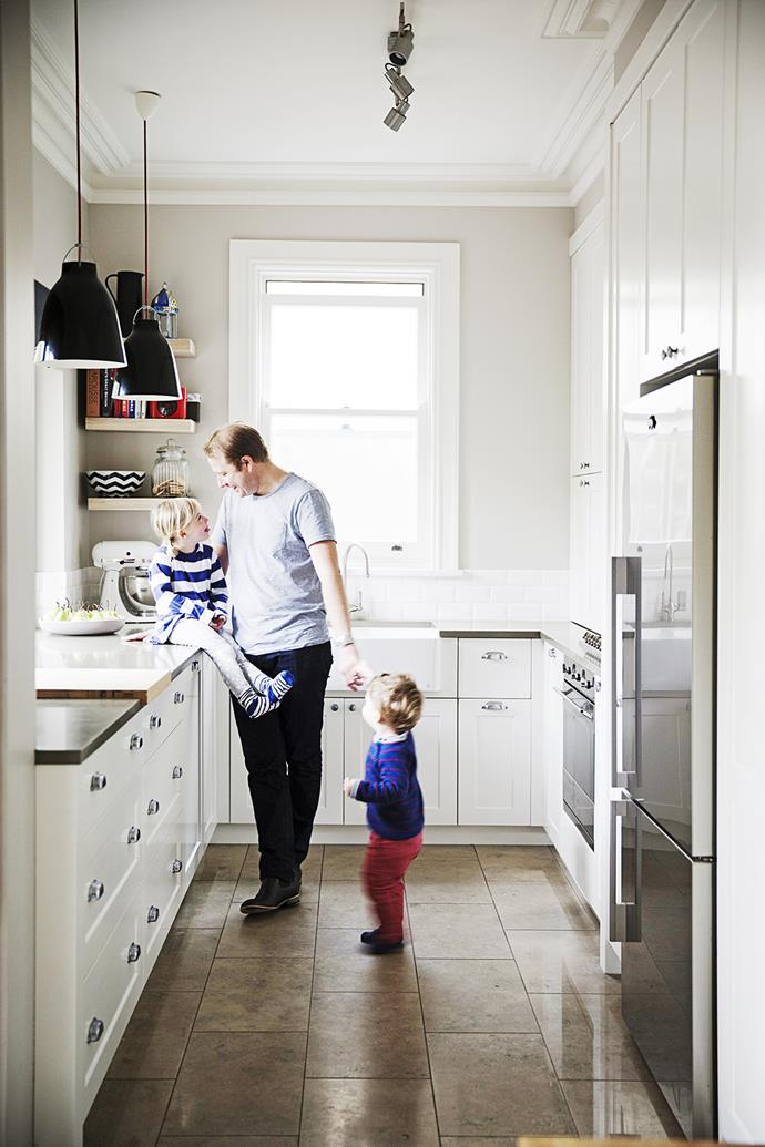 "Underfloor heating keeps the limestone floor tiles toasty for toddlers Milla and Jack. Take a tour through their [classic Northern Beaches sandstone home](http://www.homestolove.com.au/gallery-sarahs-classic-northern-beaches-sandstone-renovation-1570|target=""_blank""). Photo: James Henry / *homes+*"