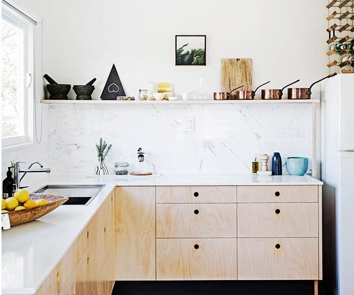 Scandinavian timber and marble kitchen