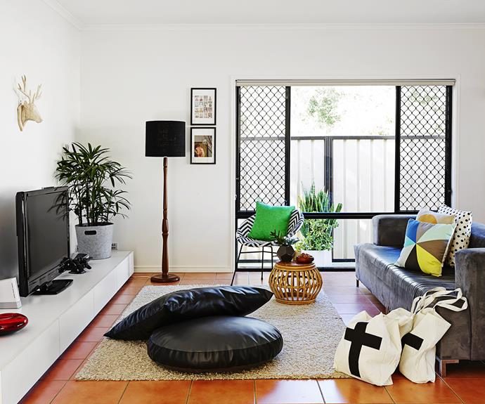 Oversized cushions on the floor make a great seating option.