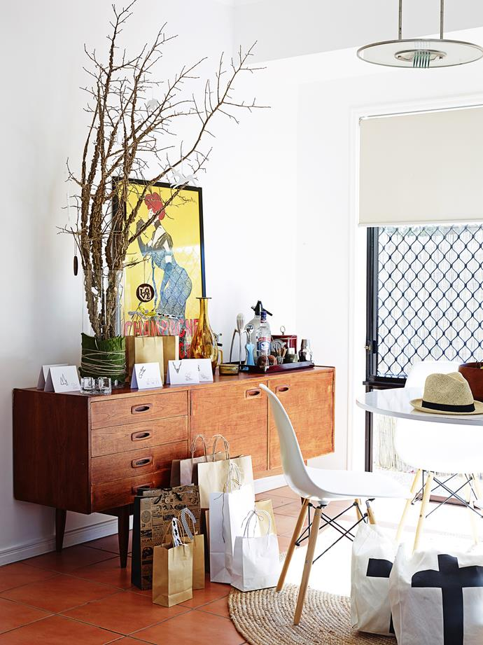 """The sideboard was a special vintage find. """"It was a great investment. Because it's adaptable, it allows the surface areas to change and evolve,"""" Dani says."""