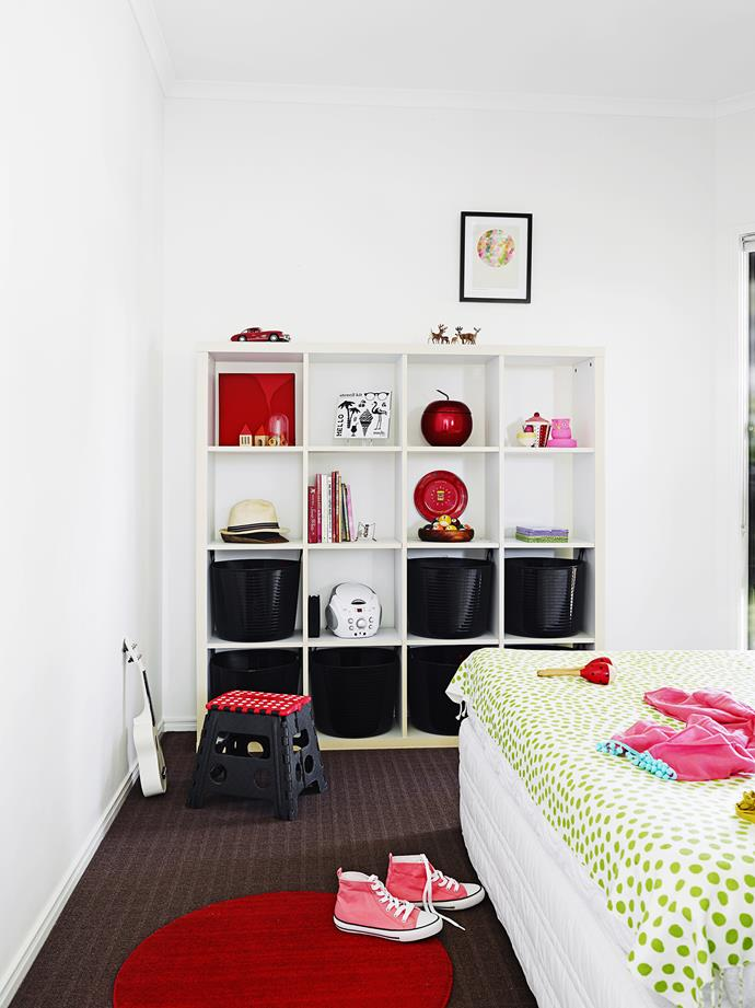 """In the children's room, [Ikea](http://www.ikea.com.au/ target=""""_blank"""") Expedit shelving is a great way to display the girls' artwork and treasures."""