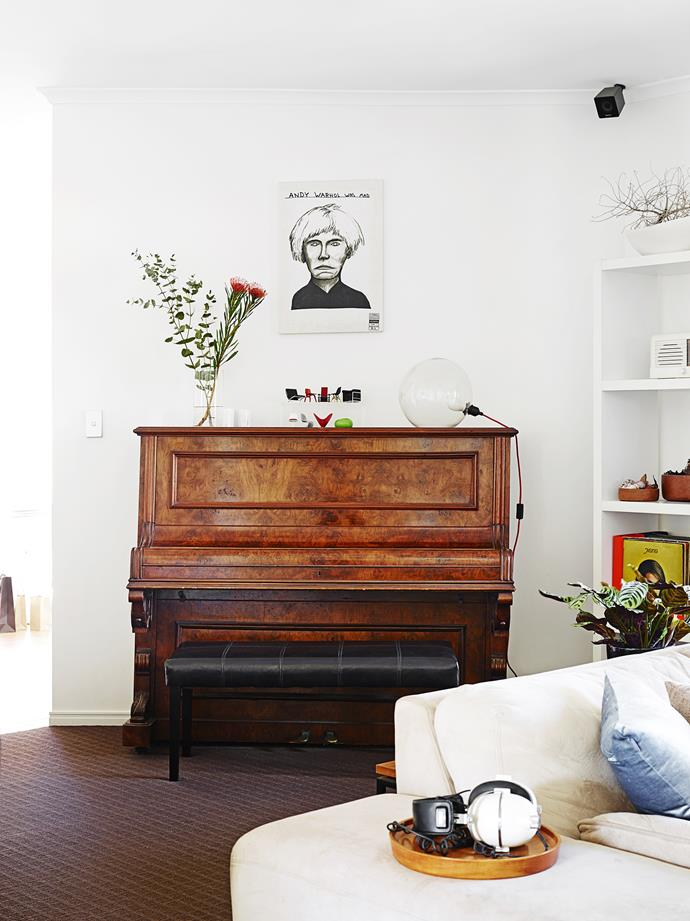 The piano sitting in Dani's lounge room shows the family's love of music.