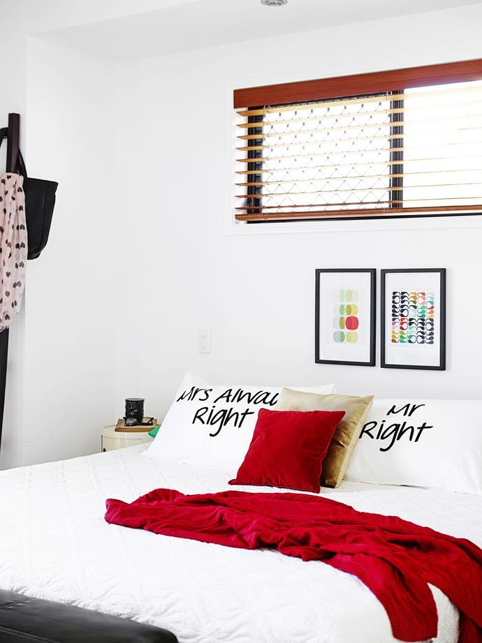 "Home Republican bedlinen from [Adairs](https://www.adairs.com.au/ target=""_blank"") lends a cheeky flourish to the main bedroom."