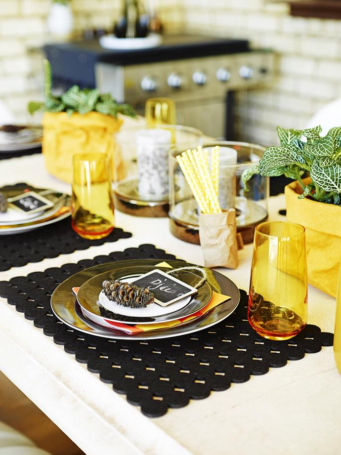 """The little """"chalkboard"""" markers help to make this a table setting with a difference."""