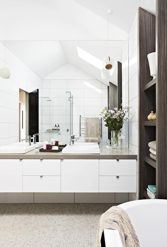 "This bathroom is designed to feel calm, symmetrical and balanced,"" says Carolyn. Photo: Armelle Habib | Stylist: Judy Ostergaard"