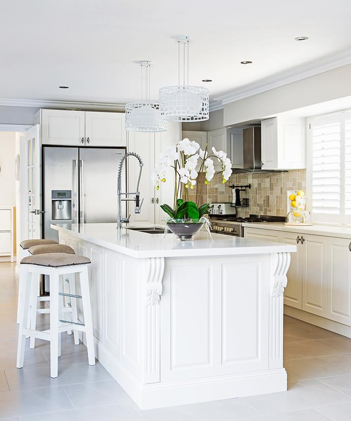 "Moulded cabinet doors work well in a more classic style of kitchen. This French Provincial kitchen island was made by [Berry Kitchens](http://www.berrykitchen.com.au/|target=""_blank""). Photo: Maree Homer"