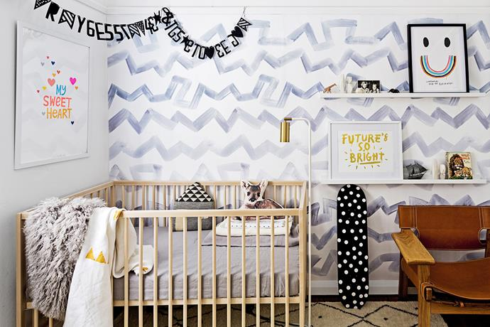 "Designer Sarah Ellison chose a theme of prints and patterns for her baby, Blaze. ""I wanted to use my grey [zigzag wallpaper](http://www.emilyziz.com/walls/sarah-ellison.html