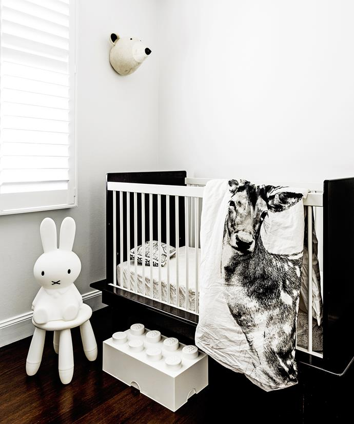 "Stylist/photographer [Renata Ferko](http://www.curatedby.co/|target=""_blank"") opted for a monochrome colour palette consistent with the rest of her home for her baby, Mila Rose. ""It is by far my favourite sleep zone in the house,"" she says.   Argington **cot** from [My Messy Room](http://www.mymessyroom.com.au/
