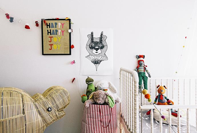 "Art director/production designer [Xanthe Highfield](http://xanthehighfield.com/|target=""_blank"") added playful pops of colour to baby Ace Archie's room. ""It's funny but a lot of the stuff in Ace's room we had already. Sam and I both have playful (aka childish) tastes so our house was filled with toys before we even had a baby.   Photo: Felix Forest / bauersyndication.com.au"