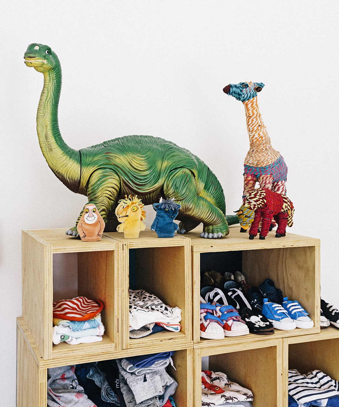 "Ply boxes are a cost-effective and expandable storage solution for kids' clothing in this [chic nursery](https://www.homestolove.com.au/four-chic-nurseries-for-cool-babies-1647|target=""_blank""). Finger puppets and dinosaurs have a home on top of the shelf. Photo: Felix Forest"