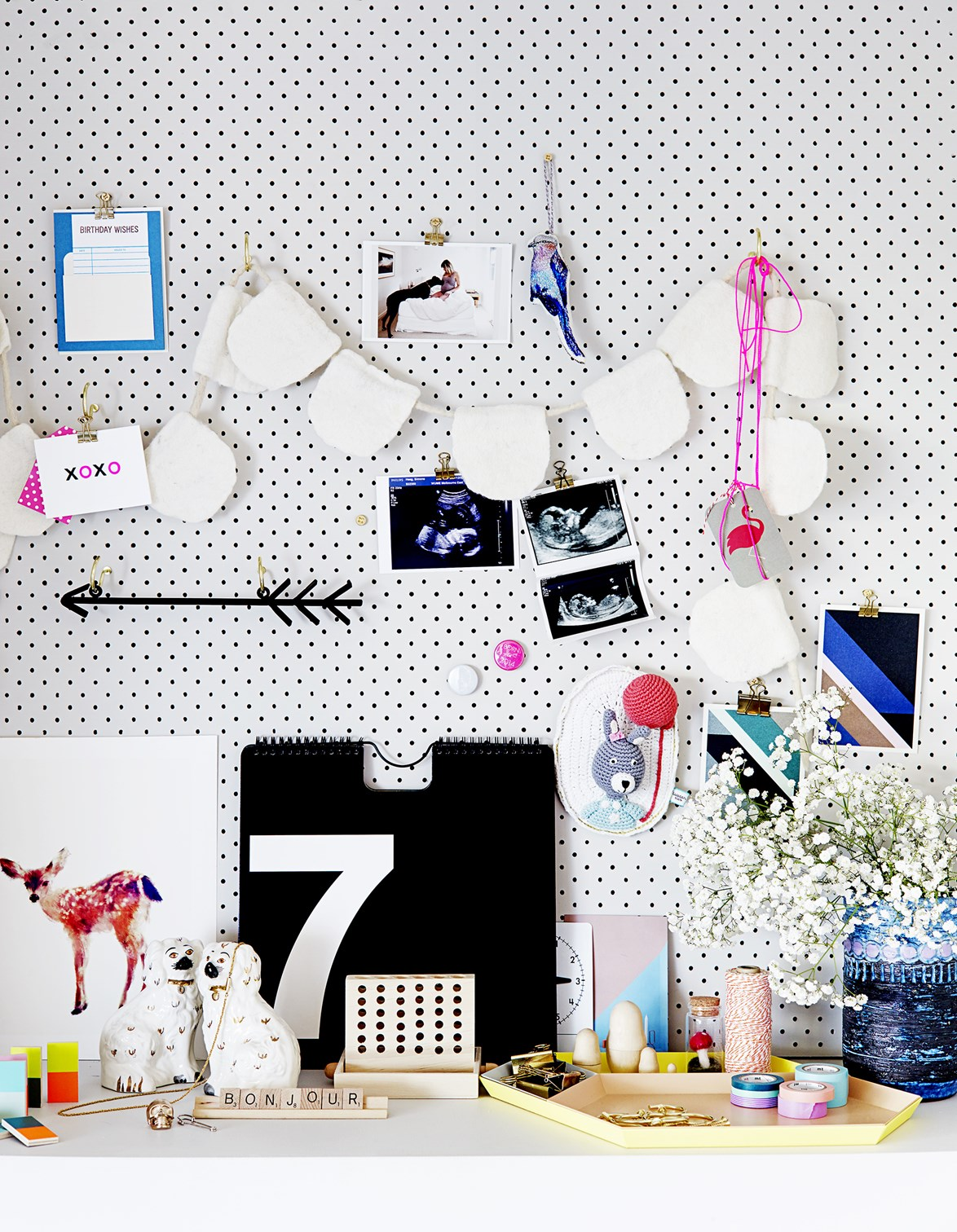 "Another alternative to open shelving and magnetic paint is creating a pegboard. Peg-boards, like this one in the [home of interior designer Simone Haag](https://www.homestolove.com.au/four-chic-nurseries-for-cool-babies-1647|target=""_blank"") can be customised to suit your colour scheme and are available from [Bunnings](https://www.bunnings.com.au/pinnacle-900-x-450mm-pegboard_p2760205