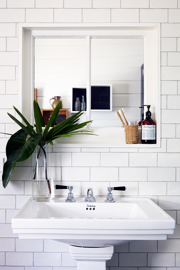 """A pedestal basin was bought at a builder's yard and re-enamelled. The taps by [Brodware Industries](http://www.brodware.com.au/