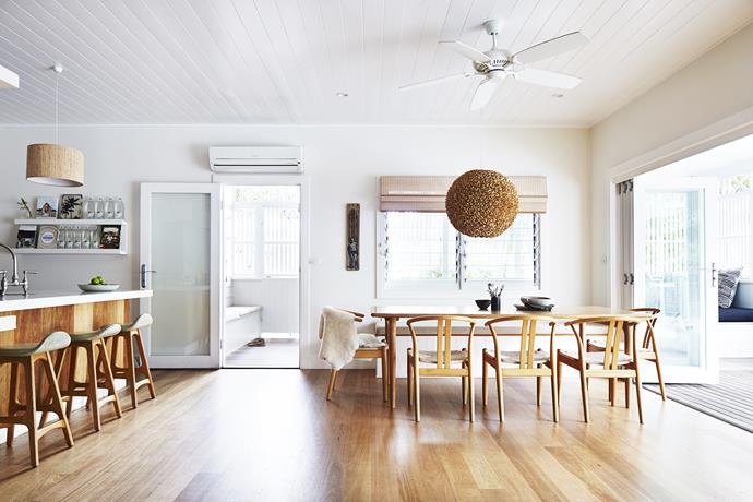 "The mix of timber shades paired with neutral walls brings a touch of Scandinavia to this [mid-century-style home](http://www.homestolove.com.au/gallery-kimberly-and-stephens-byron-bay-beach-house-1660|target=""_blank""). *Photo: Alicia Taylor*"
