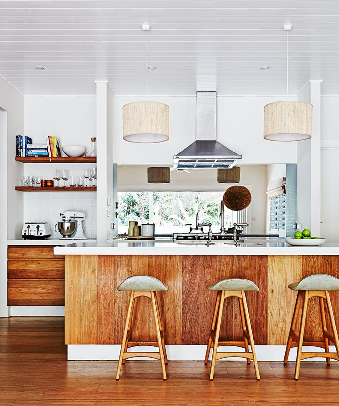 "The kitchen has a mid-century look, with Erik Buch stools from [Great Dane Furniture](http://www.greatdanefurniture.com/|target=""_blank""). Drawers, panelling and flooring are all American oak."