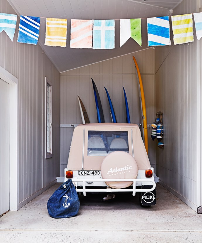 The Moke and paddle boards add that retro holiday feel; it is Byron Bay, after all. The colourful homemade bunting was inspired by the nautical flag alphabet.