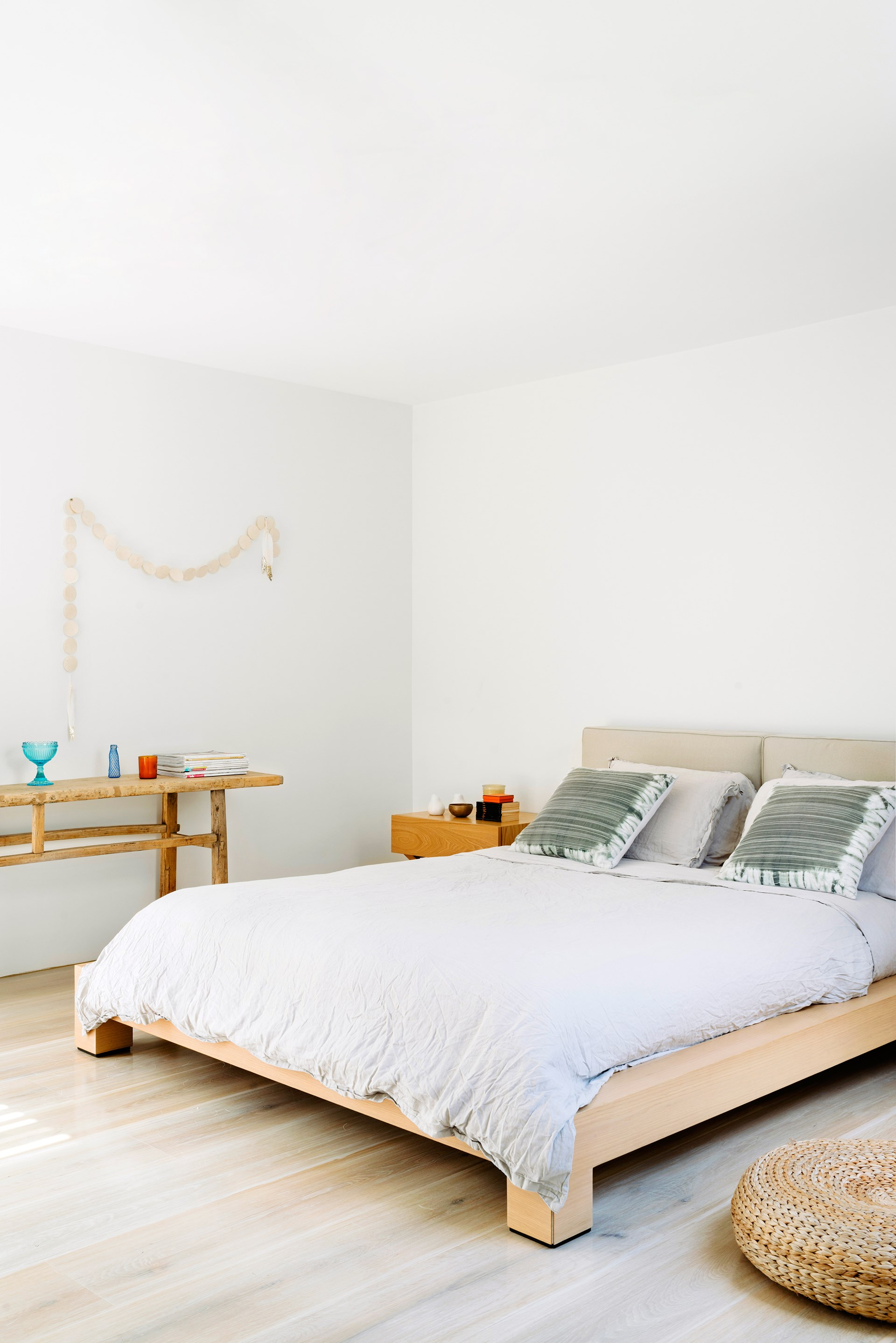 "[This Scandi-style terrace house](http://www.homestolove.com.au/scandi-style-terrace-house-with-space-to-spare-1669/|target=""_blank"") has space to spare. Soft textiles and shades of white set up a cloud-like haven in the couple's main bedroom. Console from [Orson & Blake](http://www.orsonandblake.com.au/