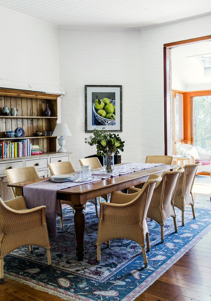 "When the temperature drops Val and John relocate from the sunroom to the dining room, where long, lavish meals are served when family visits.   Vincent's Garden Bordeaux resin-weave **armchairs** in Broken White from [Cotswold Furniture Collection](http://www.cotswoldfurniture.com.au/|target=""_blank""). **Tablecloth** from [Reinventare](http://www.reinventare.com.au/