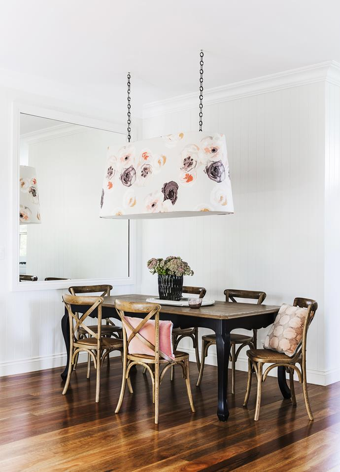 "The Sonia Rykiel floral fabric used for the custom-made lightshade in the dining space inspired the palette of dirty pinks, aubergines, warm greys and whites found throughout the house.   Custom-made **pendant light** in Sonia Rykiel Rue Visconti fabric from [South Pacific Fabrics](https://instagram.com/southpacificfabrics/|target=""_blank""). **Cushions** from [Canvas](http://www.canvashome.com.au/